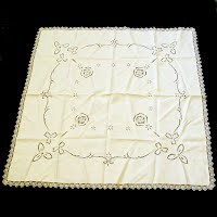 Antique Vintage Linen Cloth with cut work and embroidery, handmade lace edging