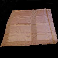 Antique Vintage Dusty Pink Silk and Lace Bed Cover, belonged to 1920's movie star Margaret Quimby
