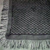Antique Vintage Black Silk Chantilly Lace Shawl with fringe, 1900's
