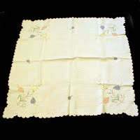 Antique Vintage Linen Cloth with Applique Cut Work & Embroidery