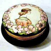 Antique Vintage Hand painted Porcelain Powder Box with lady and flowers