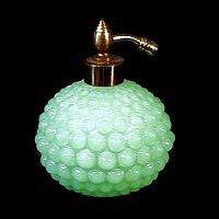 Antique Vintage light green hobnail glass perfume atomizer