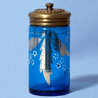 Antique Vintage Blue Powder Jar