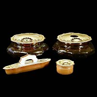 Antique Vintage amber celluloid vanity set, glass powder jar, glass hair receiver, nail buffer