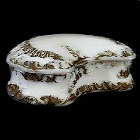 Antique milk glass dresser vanity box with gold paint