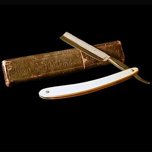 Antique Straight Edge Razor, King of Whiskers Razor in Box, Washington Cultery Co Germany