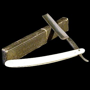 Antique Straight Edge Razor with Box, yellow bakelite handle or Ivory, MI Germany