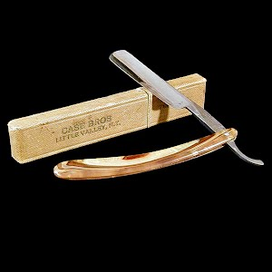 Antique Straight Edge Razor with Box, pearlized bakelite handle, Case Brothers Little Valley N.Y.