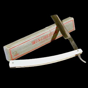 Antique Straight Edge Razor with Box, bakelite or ivory handle, 1910 Winchester Trade Mark