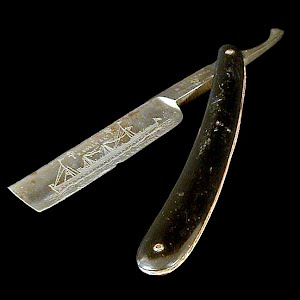 Antique Straight Edge Razor, H Boker and Co Germany, American Line SS St. Louis Engraved Ship