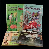 Vintage Educational Books (5): Flowers Trees and Gardening (1975), Seashells (1976), Oceanography (1973), The Human Body (1961), Weather (1960)