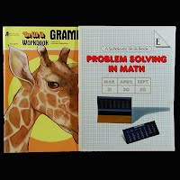 Vintage Educational Books (2): Drill it Grammar Workbook and Answer Key (1982), Problem Solving in Math E (1982)