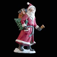 Vintage Christmas Red Santa Figurine with toy sack and tree