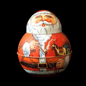 Vintage Christmas 1980 Chein Roly Poly Santa Claus Tobacco Tin