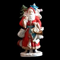 Vintage Porcelain Bisque Red Christmas Santa Figurine with Tree and Toy Sack, Enesco, John Grossman Inc, 1987 The Gift Line