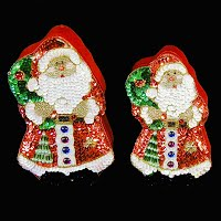 Vintage Sequined Nesting Santa Boxes