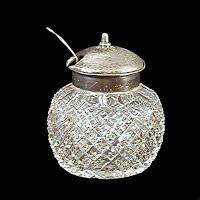 Antique EAPG Clear Jam Pot, 1890