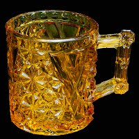 Antique EAPG Amber Daisy and Button with V Band Mug