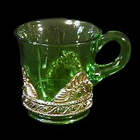 Antique EAPG Green Jewel or Lacy Medallion Small Mug, 1900's US Glass