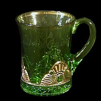 Antique EAPG Green Jewel or Lacy Medallion Large Mug, 1900's US Glass