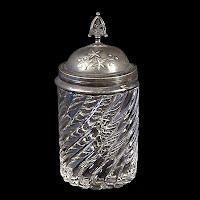 Antique EAPG Clear Swirl Pickle Castor Insert, 1885