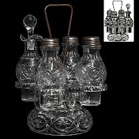 Antique EAPG Britannic 4 bottle Caster Set, McKee Glass Company