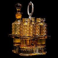 Antique EAPG Amber Paragon Glass Caster Set