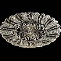 Antique EAPG Clear Feather or Doric Plate, 1895 Indiana Glass Co or McKee Glass
