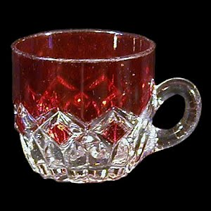Antique EAPG Diamond Ruby Stained Punch Cup