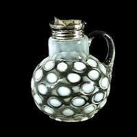 Antique EAPG White Opalescent CoinSpot Syrup Pitcher, 1890-1910 Northwood Glass Co
