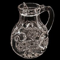 Antique EAPG Scroll with Cane Band Syrup Pitcher