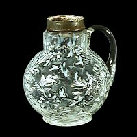 Antique EAPG White Opalescent Daisy & Fern Syrup Pitcher, 1888-1910 Northwood Glass Co