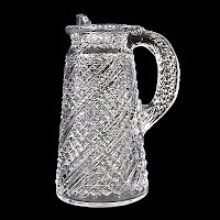 Antique EAPG Clear Zipper Swirl & Diamond Syrup Jug, 1895 US Glass Co