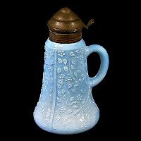 Antique EAPG Blue Opaque Challinor's #313 Syrup Pitcher, 1889 Challinor Taylor Co