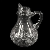 Antique EAPG Clear Fruit Panel Syrup Pitcher, 1938 Westmoreland Glass