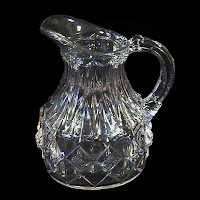 Antique EAPG Clear O'Hara Diamond Syrup Pitcher, 1891 US Glass Co