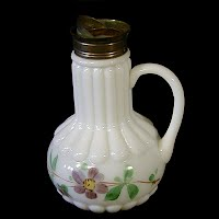 Antique EAPG Milk Glass Ribs over Ribs Syrup Pitcher, 1900's