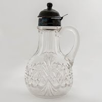 Antique EAPG Royal Crystal or Atlanta Pattern Glass Syrup Pitcher, Tarentum Glass Company