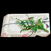 Antique Ephemera card, Lilies of the Valley, Be my love