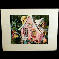 Antique Ephemera Picture Thorton Utz, Hansel and Gretel Print with mat