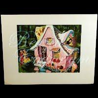 Antique Ephemera Picture Thorton Utz, Hansel and Gretel Print with mat