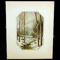 Antique Ephemera Picture, 1920 German Snow Scenery Print