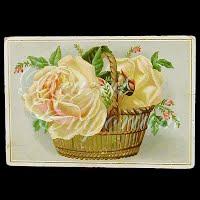 Antique Ephemera Basket of Roses Card