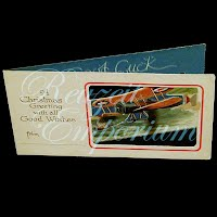 Antique Ephemera Airplane Cut Out Christmas Card