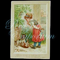 Antique Child with Puppies Card