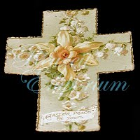 Antique Ephemera Cross Easter Peace be Yours