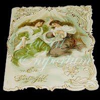 Antique 1913 Ephemera Card with two Ladies