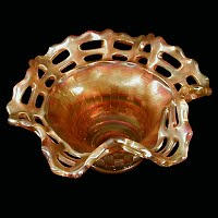 Antique Carnival, Glass Marigold Basketweave Dish, 1915-1925 Fenton Glass