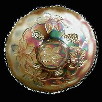 Antique Carnival Glass, Blue Leaves and Grapes Dish, 1910-1925 Northwood Glass Co