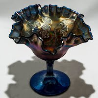 Antique Blue Thistle Carnival Glass Compote